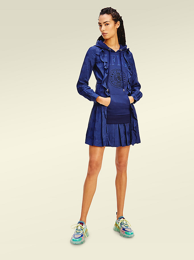 blue crest hybrid hoody dress for women tommy hilfiger