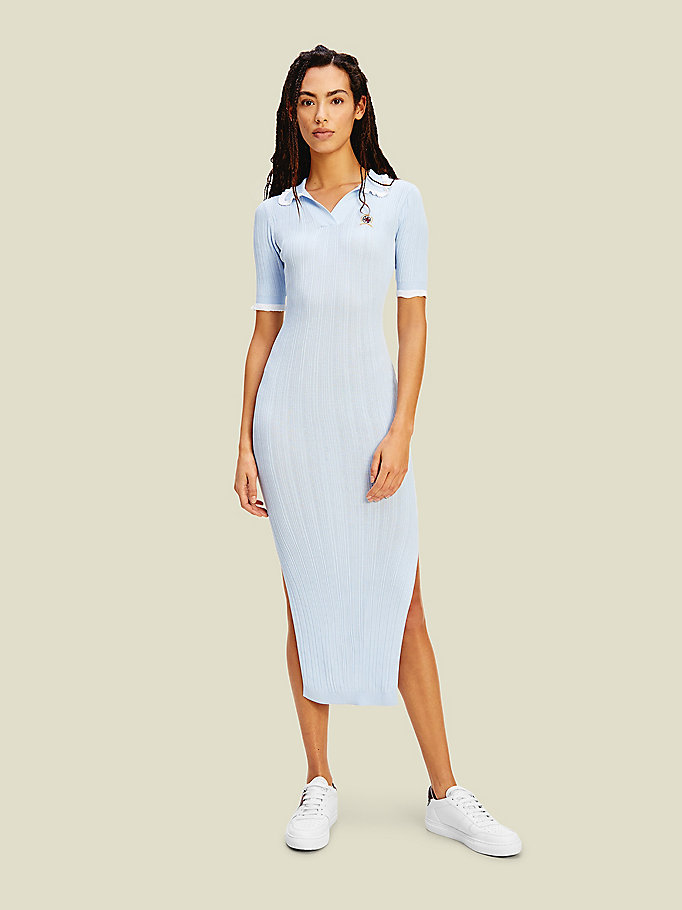 blue crest ribbed polo jumper dress for women tommy hilfiger