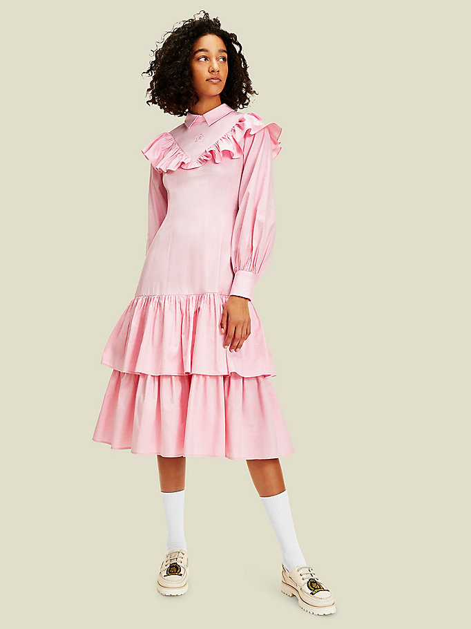 pink ruffle midi dress for women tommy hilfiger