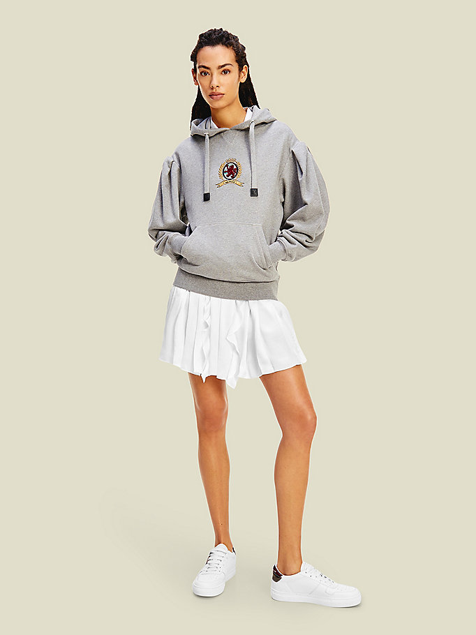 grey crest organic cotton hoody for women tommy hilfiger