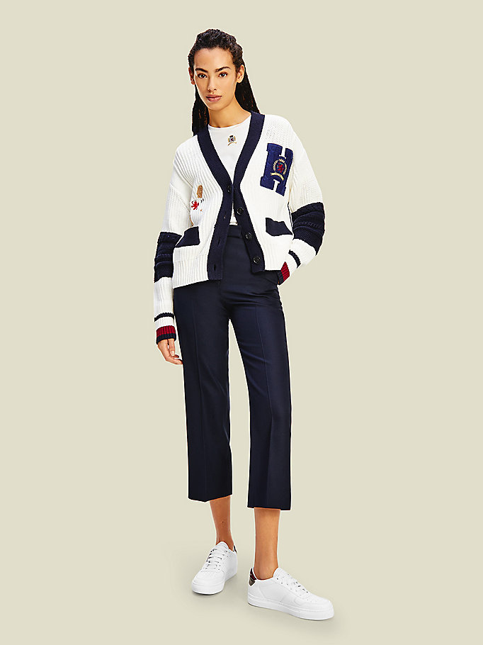 white crest golf letterman cardigan for women tommy hilfiger