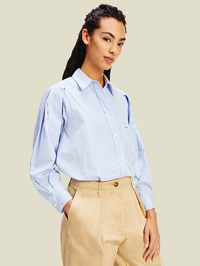 blue crest stripe shirt for women tommy hilfiger