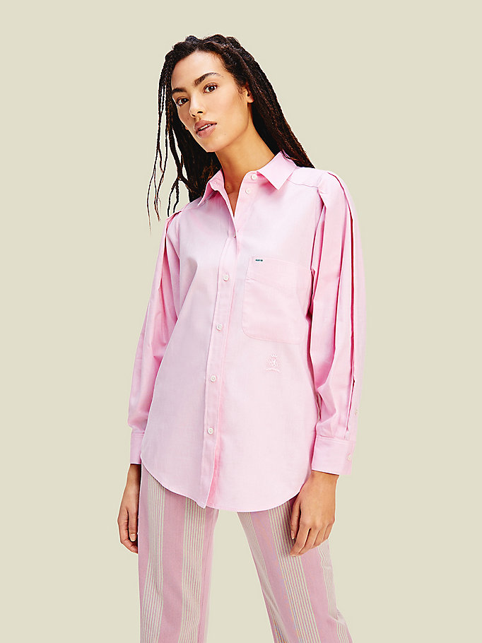 pink organic oxford cotton shirt for women tommy hilfiger