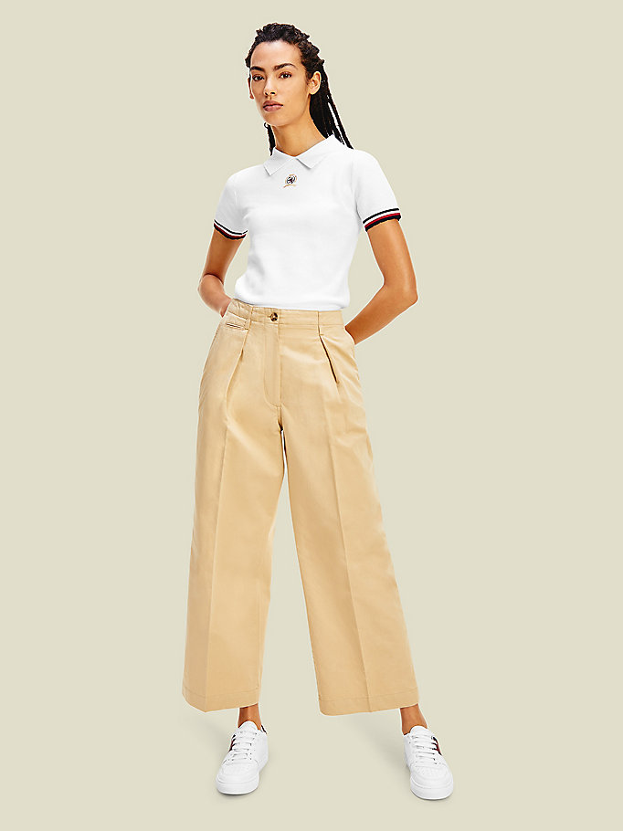 beige crest wide leg chinos for women tommy hilfiger