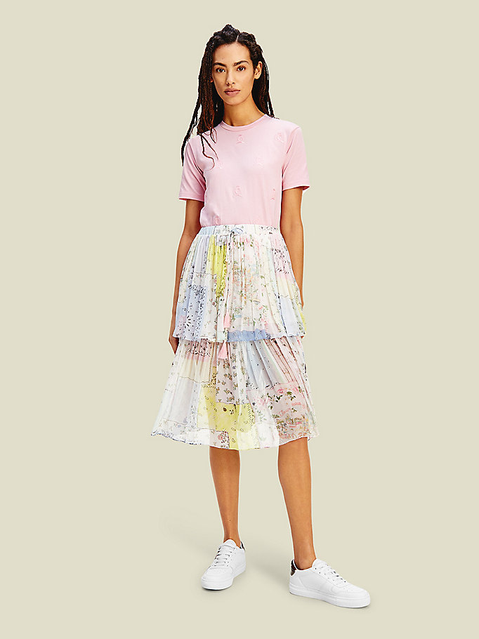 pink crest floral patchwork midi skirt for women tommy hilfiger