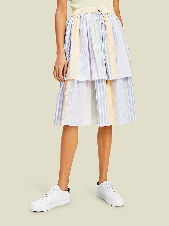 yellow pure cotton multicoloured stripe midi skirt for women tommy hilfiger
