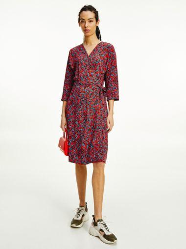 Floral Camo Print Wrap Dress