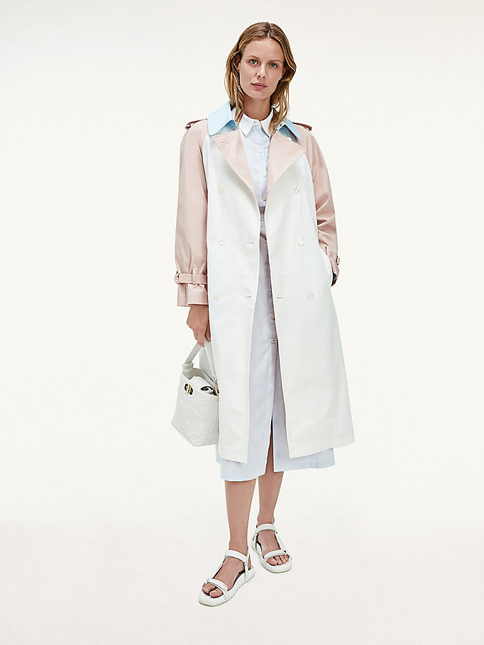 wit tommy icons colour-blocked trenchcoat voor dames - tommy hilfiger