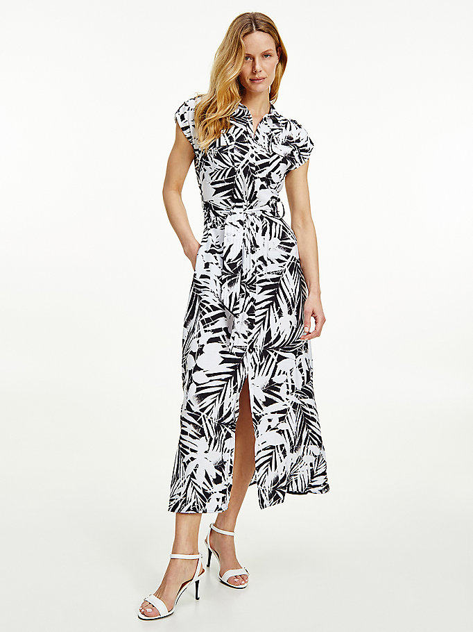 black palm print viscose maxi shirt dress for women tommy hilfiger