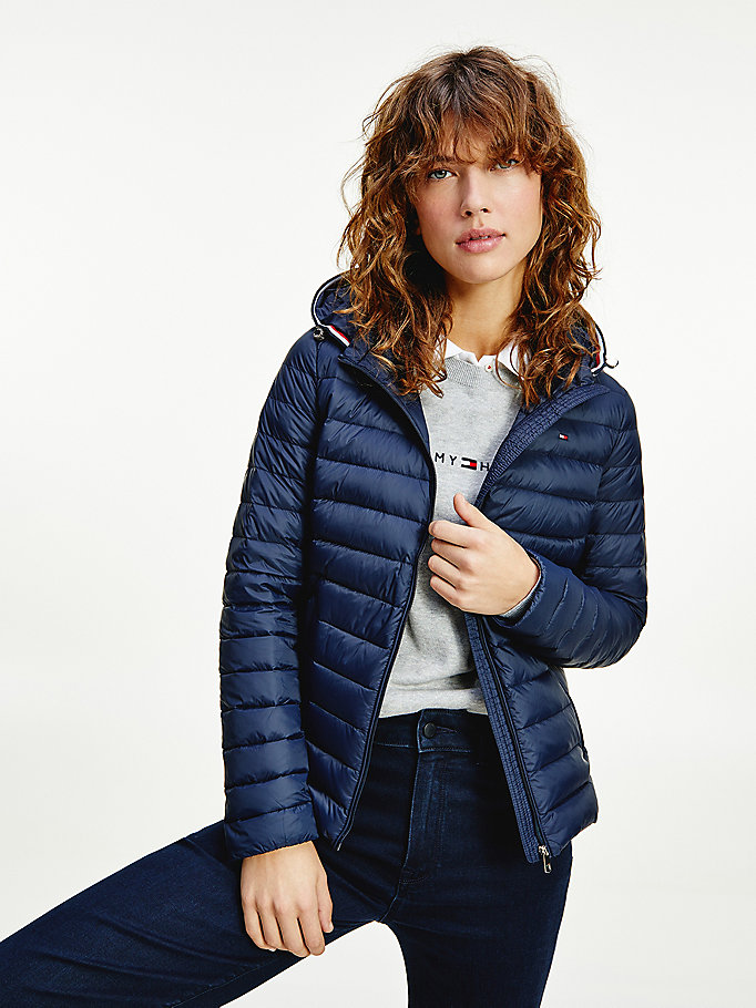 blue essential packable down filled jacket for women tommy hilfiger
