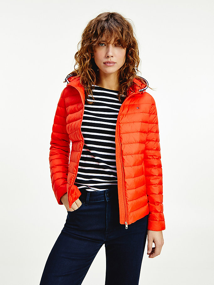 orange essential lightweight down-filled packable jacket for women tommy hilfiger