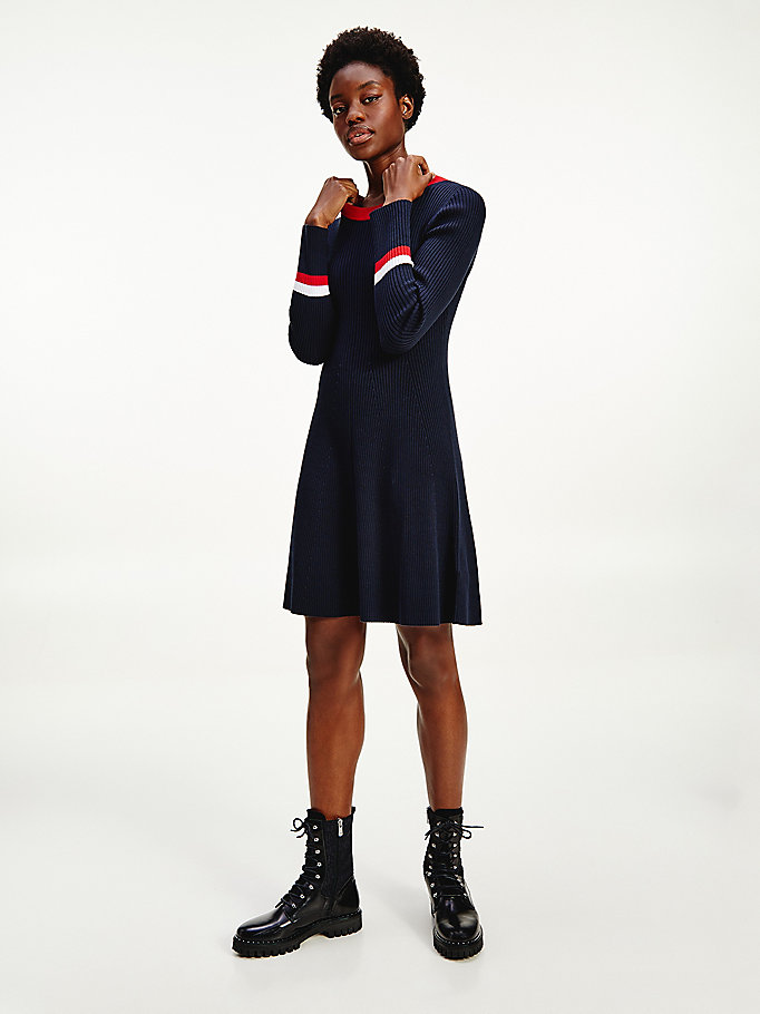 blauw th warm fit and flare jurk voor dames - tommy hilfiger