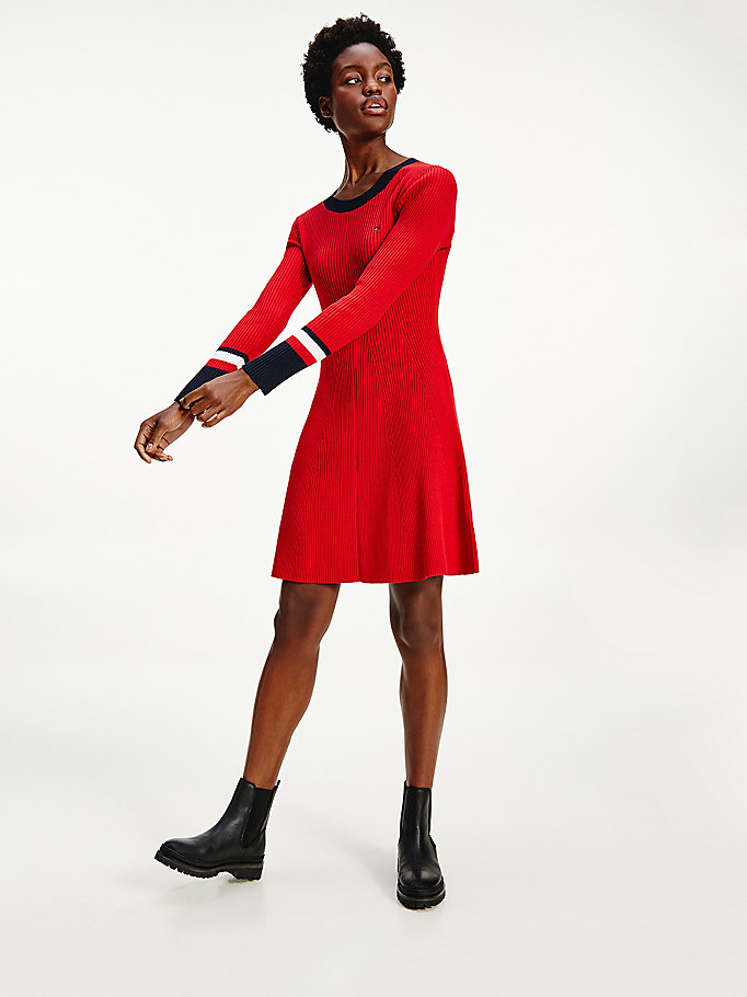 red th warm fit & flare dress for women tommy hilfiger
