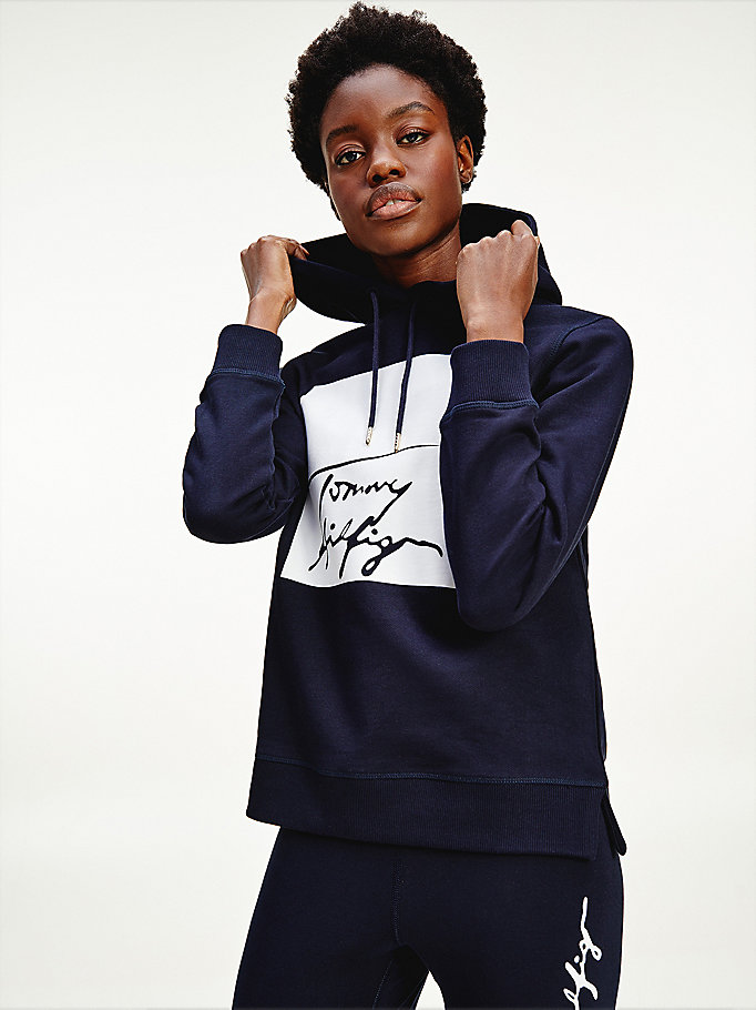 blue signature logo organic cotton hoody for women tommy hilfiger