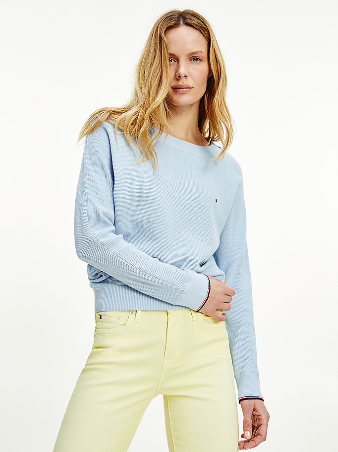 blue organic cotton oversized boat neck jumper for women tommy hilfiger