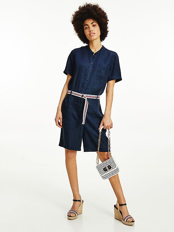 denim belted chambray short jumpsuit for women tommy hilfiger