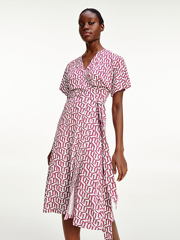 pink viscose jersey midi wrap dress for women tommy hilfiger