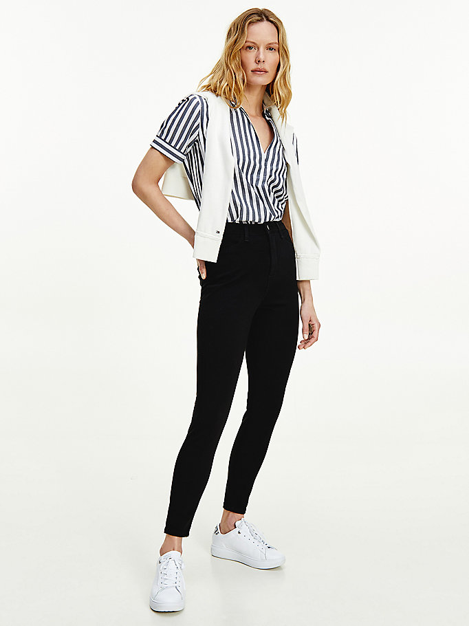 black sculpt super skinny ankle trousers for women tommy hilfiger