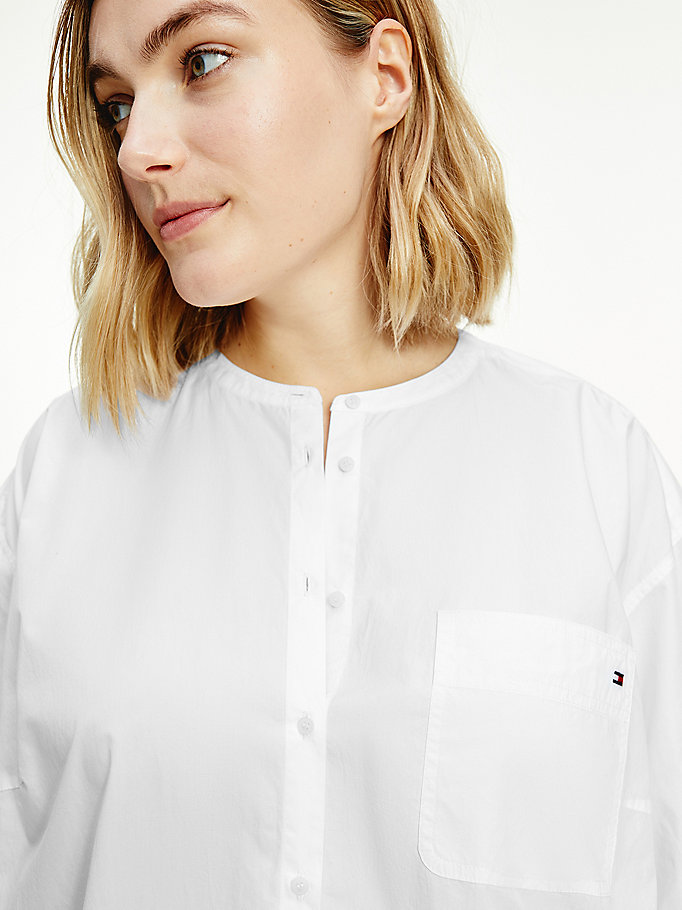 white curve cotton poplin relaxed shirt for women tommy hilfiger
