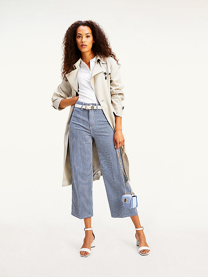 denim high rise wide leg stripe ankle jeans for women tommy hilfiger