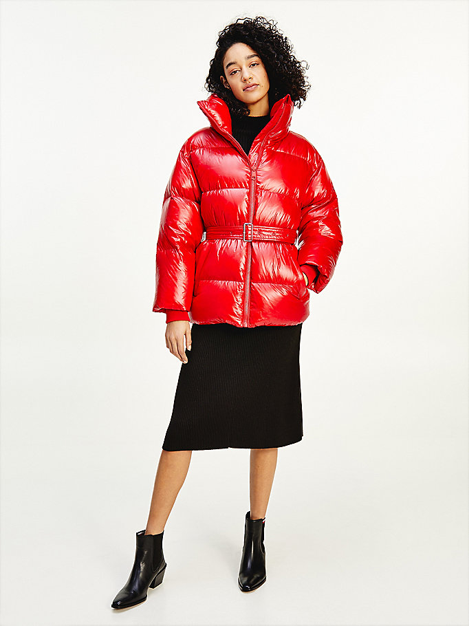 red padded down belted jacket for women tommy hilfiger