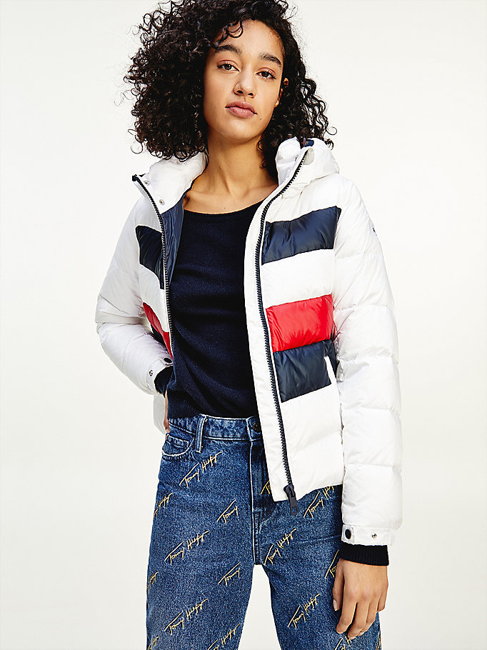white signature tape chevron padded down jacket for women tommy hilfiger