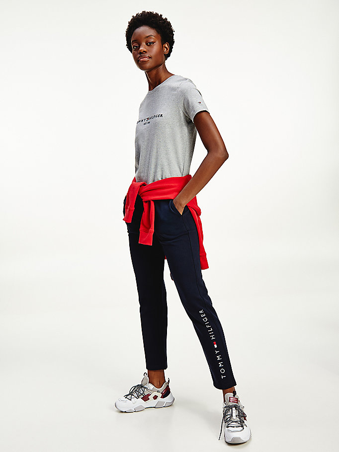 blue organic cotton drawstring waist joggers for women tommy hilfiger