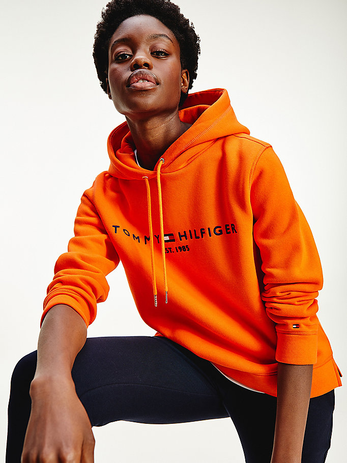 orange essential logo hoody for women tommy hilfiger