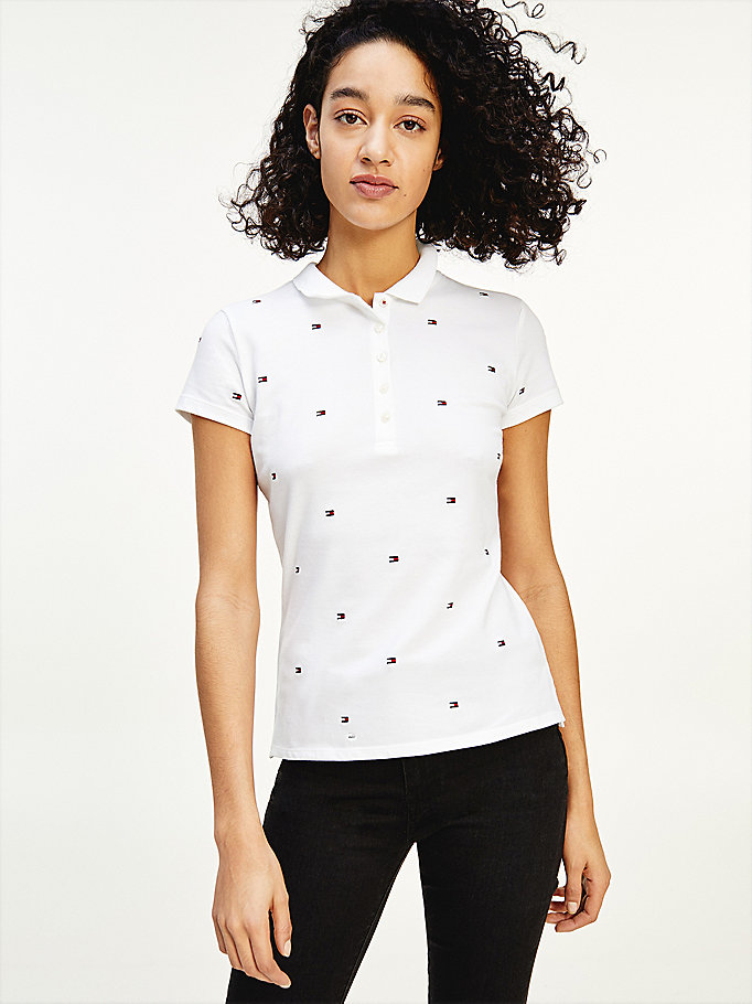 white all-over flag slim fit polo for women tommy hilfiger