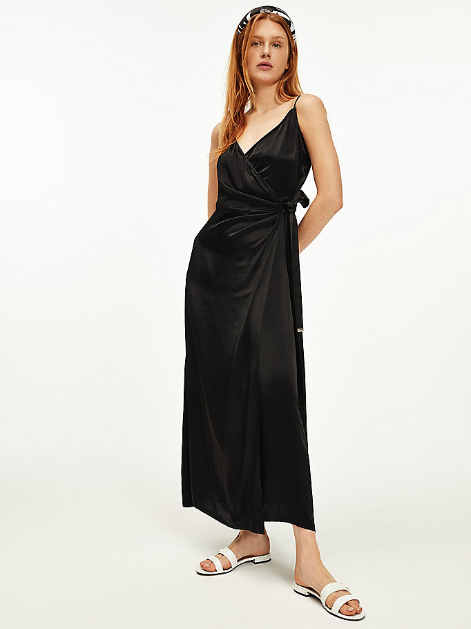 black viscose satin wrap dress for women tommy hilfiger