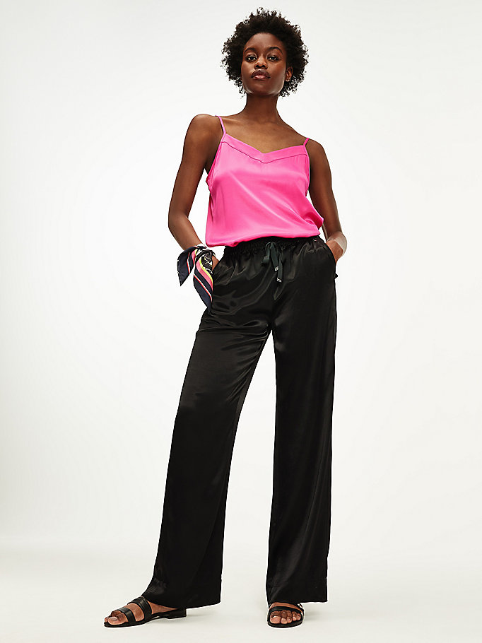 black wide leg pull-on viscose satin trousers for women tommy hilfiger