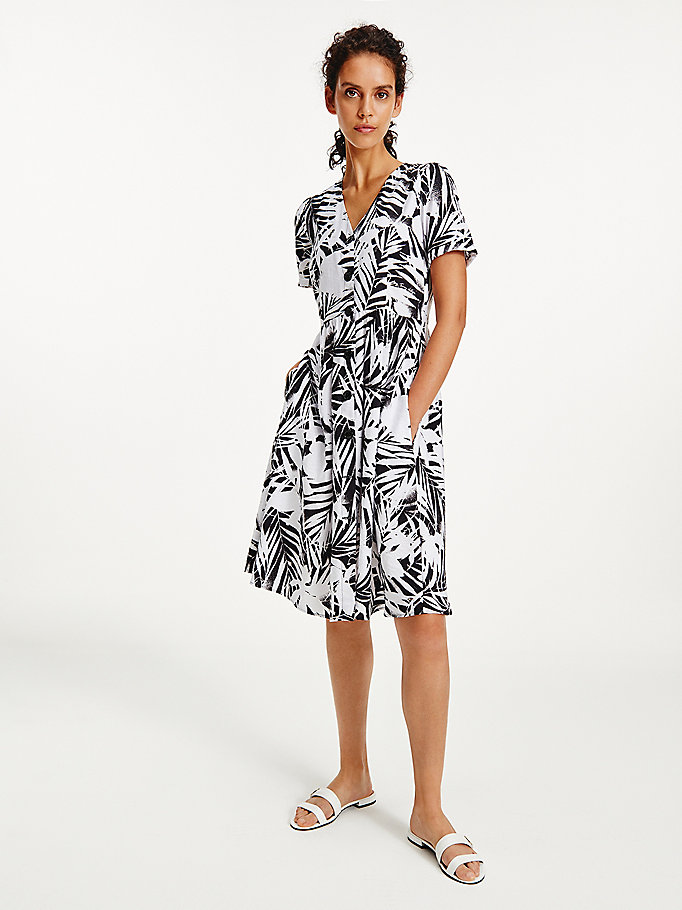 black palm print fit and flare dress for women tommy hilfiger