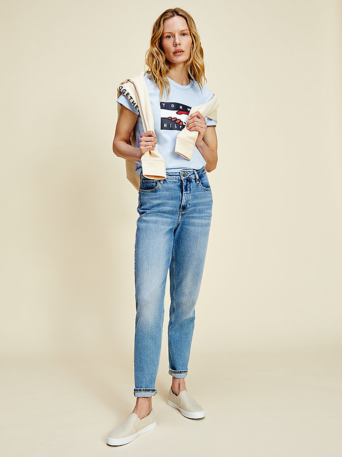 blue one planet flag t-shirt for women tommy hilfiger