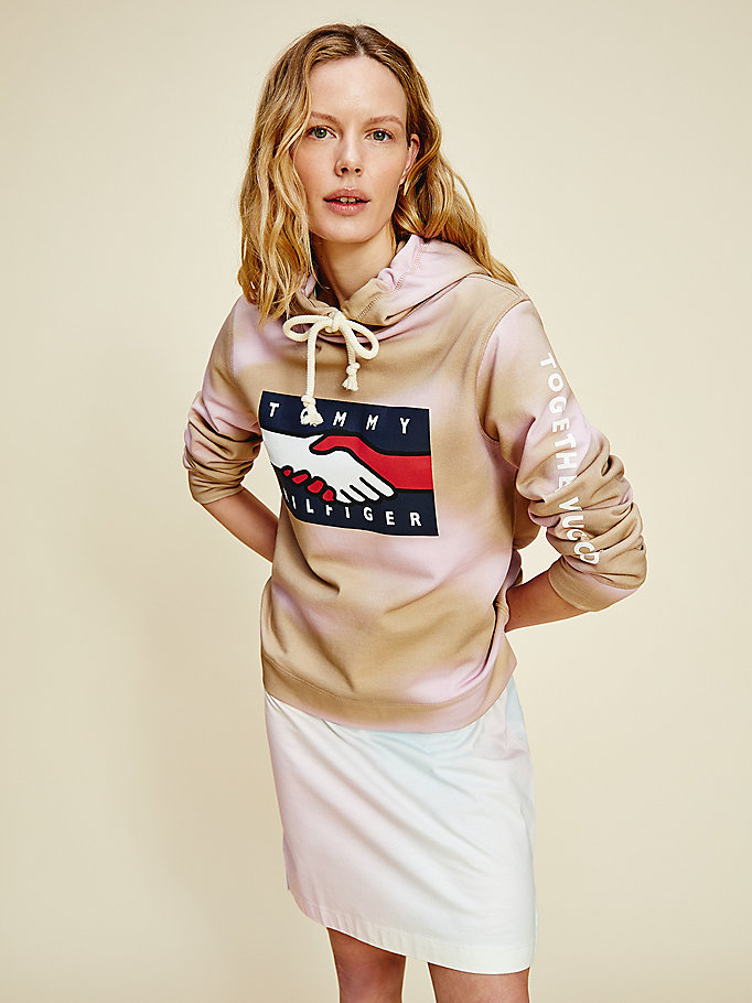 beige one planet logo hoody for women tommy hilfiger