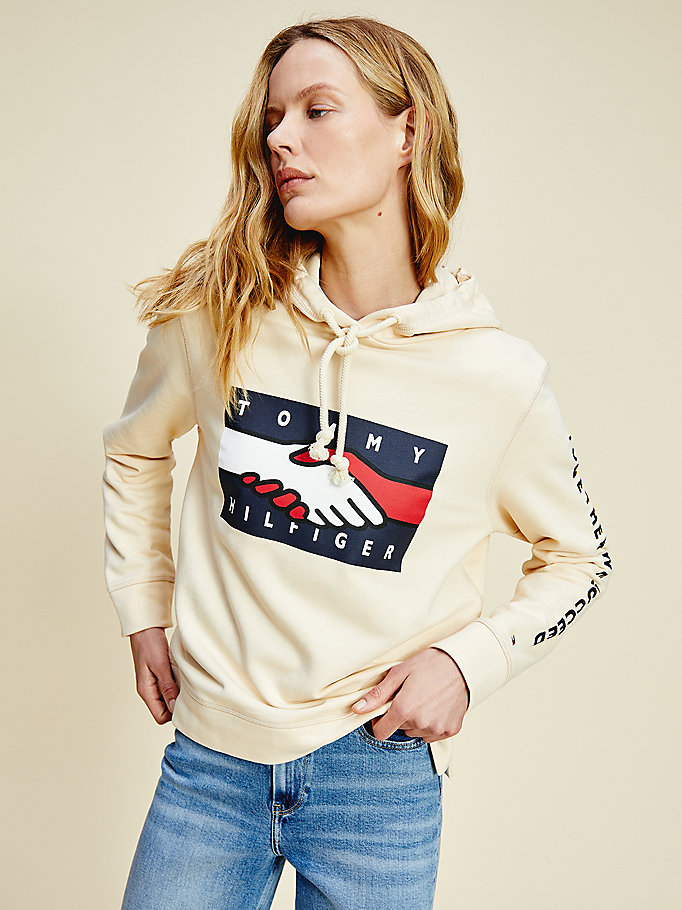 white one planet logo hoody for women tommy hilfiger