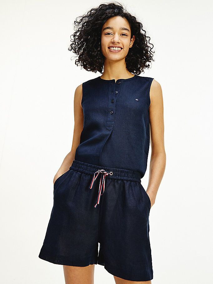 blue pure linen sleeveless blouse for women tommy hilfiger