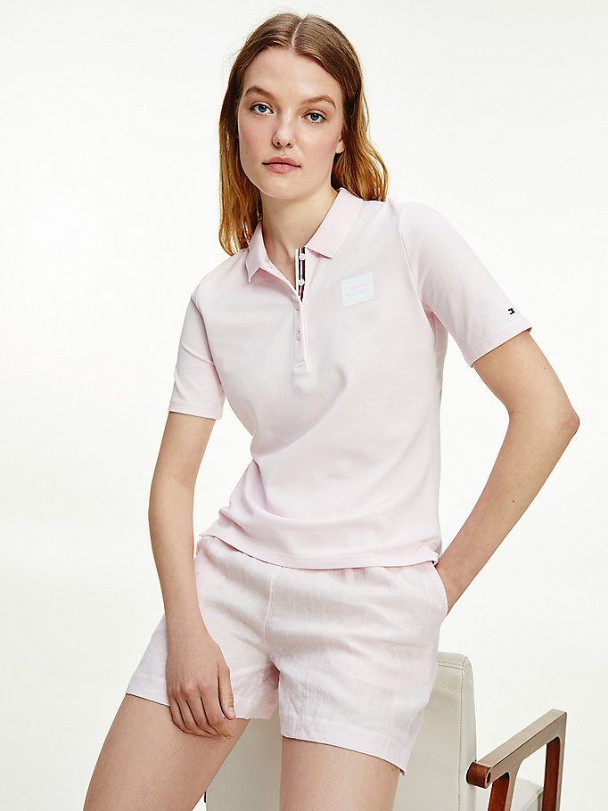 pink essential box logo polo for women tommy hilfiger