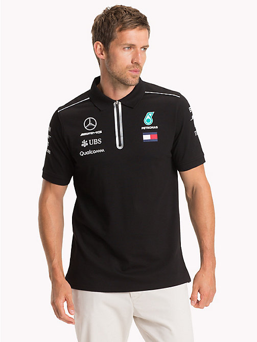 TOMMY HILFIGER Mercedes F1 Team Polo Shirt - BLACK - TOMMY HILFIGER TommyXMercedes-Benz - main image